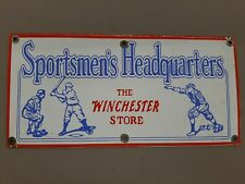 Winchester Store Sportsmen Headquarters Porcelain Sign Baseball Pitcher Catcher