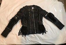 NEW James Goldstein Womens Black Leather Studded Fringed Jacket  SIZE M/42