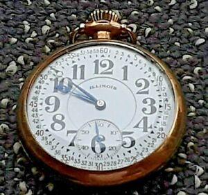 1919 Illinois GF Pocket Watch Santa Fe Special 16s 21 J (Runs)