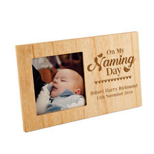 Personalised Naming Day Engraved Wooden Photo Frame Picture Keepsake Baby Gift