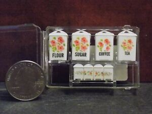 Dollhouse Miniature Pink Floral Canister Set 1:12 inch scale G20 Dollys Gallery