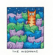 HERITAGE CRAFTS THE INSOMNIAC CAT COUNTED CROSS STITCH KIT PETER UNDERHILL