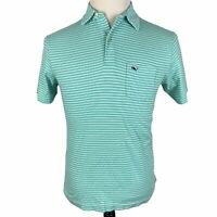 Vineyard Vines Polo Shirt Men's XS Mint Green White Striped Short Sleeve Pocket