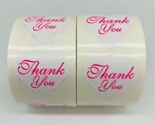 1 Roll 500 Thank You Heart Shape White Mailing Envelope Seal Labels Sticker