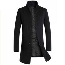 Mens Fashion Parkas Jacket Warm Trench Coat Single Breasted Business Woolen Coat