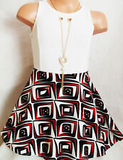 GIRLS WHITE & RED MIX ABSTRACT ART PRINT CONTRAST SKATER PARTY DRESS age 7-8
