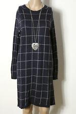 MANGO Kleid Gr. M blau-weiß knielang Langarm Karo Feinstrick Kleid