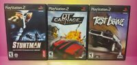 3 Game Racing Lot PS2 Playstation 2 Complete Test Drive Race DT Carnage Stuntman