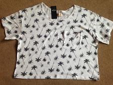 BNWT Hollister Black White Palm Tree Cropped Crop Top T-Shirt Size M Medium