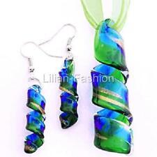 Gold Green Aqua Handmade Lampwork Glass Murano Pendant Wax Necklace Earrings Set