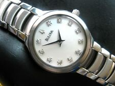 BULOVA 96P20 11 REAL DIAMOND LADIES WATCH  MOTHER OF PEARL DIAL STAINLESS STEEL