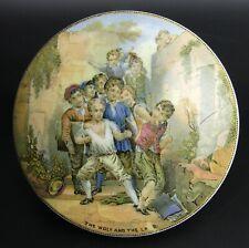 More details for victorian  coloured pratt ware pot lid 'the wolf & lamb' c.1870