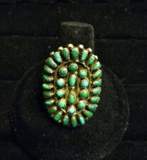 Vintage 1930-40s ZUNI Sterling Silver TURQUOISE Petit Point RING, size 8