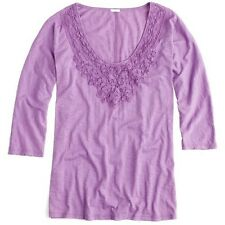 J CREW LACE NECKLACE TEE XS 2 4 X-Small Grape Purple Shirt Top Elbow Sleeve NWT
