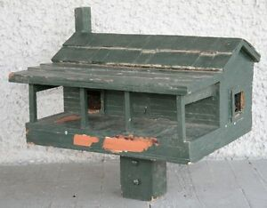 Large Vintage Hand Crafted Birdhouse. Wood Cabin with Porch & Chimney. UNIQUE!