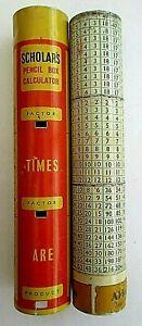 RARE ANTIQUE / VINTAGE  EARLY 1930s ALDERMAN SCHOLAR'S TIN PENCIL BOX CALCULATOR