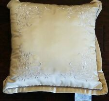 "NEW WATERFORD COPELAND CHAMPAGNE EMBROIDERED PEARL 16"" SQUARE PILLOW"