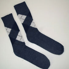 NWOT vtg 60s Fuzzy Wool Argyle Socks Sz 7-9 Medium Weight Gray/Blue White