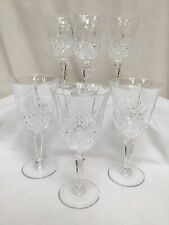 Set Of 6 Cut Crystal Sherry Small Wine Glasses VGC