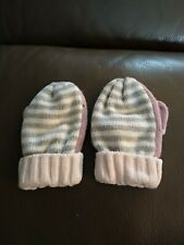 The Little White Company 1-3 Years Pink Grey Stripe Cotton Mittens