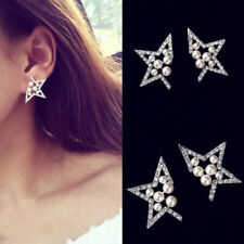 Paar Damen Ohrstecker Ohrringe Strass Karistall Ear Cuff Blogger Stern Mode