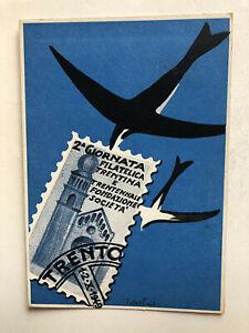 Cartolina 2 Giornata filatelica Trento 1949 trentennale fondazione societa c2