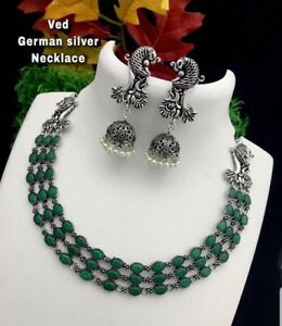 womens Indian/Pakistan ethnic oxidized black metal necklace set jewellery