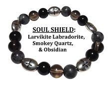 Soul Shield: Obsidian, Smoky Quartz, & Labradorite Stretch Bracelet w/Free SH