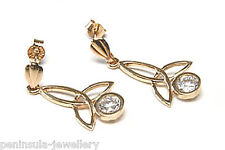 9ct Gold CZ Celtic drop dangly Earrings Gift Boxed Made in UK