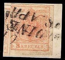 LOMBARDO VENETO / AUSTRIA - 3 kreuzer n. 3/I USATO A UDINE punti 6 € 750