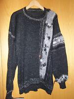 Damen-Strickpullover, Handarbeit, Gr L / XL, NEU, schwarz/grau/silber, Straß