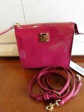 Dooney & Bourke Patent Leather North/South Janine Crossbody MAGENTA A300493 READ
