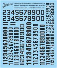 Schwarze Zahlen Decal 0,7-1,7 mm Naßschiebebild Startnummern 1//87 1//160 NR-BK-01