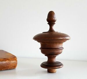 Antique turned wood finial Wooden topper Furniture Architectural salvage 3.9 in