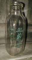 Vintage Green Valley Dairy Jackson, ohio one pint glass milk jar bottle VGUC