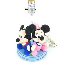 Disney Plush Baby Mickey and Minnie Mouse Nursery Lamp Vintage 1980s Blue Pink