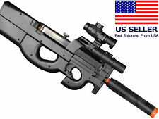 AIRSOFT P90 Style SMG AEG Electric Gun Semi/Fully Automatic + Battery Charger BB