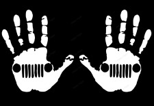 Hand Wave decals compatible with Jeep Jk Tj Yj Cj (x2) Decals Pair White