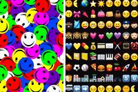 Cute Smiling Faces Emojis Emoticons Icons Emotions Print 4 Way Spandex Fabric