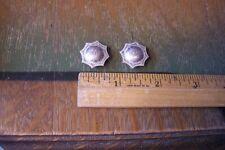 "Vtg PAIR Sterling Silver 3/4"" Star Edge Conchos Western Headstall Bridle Reins"