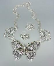 GORGEOUS Silver Mother Pearl Shell Iridescent Crystals BUTTERFLY Necklace Set