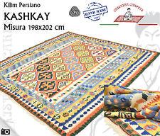Tappeto Kilim Persiano Kashkay Annodato a mano Misura 198x202 cm Vello Lana