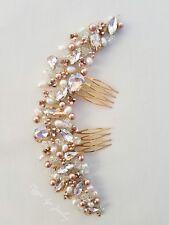 Rose Gold, champagne, amber Bridal hair comb, slide, swarovski crystals Wedding