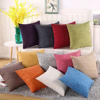 Plain Home Decor Office Sofa Cushion Cover Square Cotton Linen Throw Pillow Case