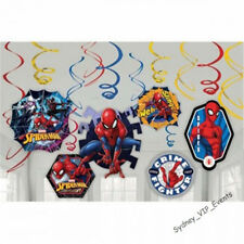 SPIDERMAN PARTY SUPPLIES 12 HANGING SWIRLS SUPERHERO BIRTHDAY DECORATIONS BOYS