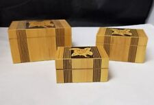 Wood Nesting Boxes: Set of 3, Hand Crafted Box, Floral Flower, Trinket Jewelry