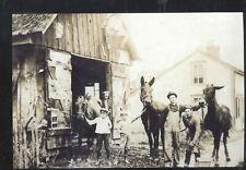 REAL PHOTO AMSTERDAM OHIO BLACKSMITH SHOP POSTCARD COPY HORSES