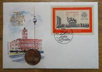 Amtlicher DDR Numisbrief 5 DM 750 Jahre Berlin Coin Letter Block 89 selten