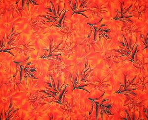 Vintage VHY Hawaiian Textiles Fabric Large Burnt Orange Floral & Leaf 4 Yards