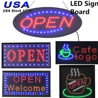 Bright Open LED Sign Coffee Cafe Barber Shop On/off Switch Business Sign Light